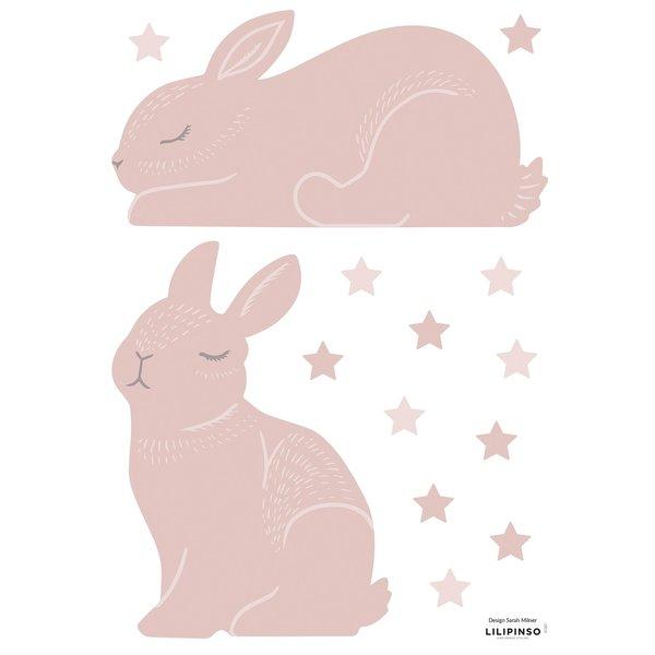 Lilipinso Lilipinso muursticker kinderkamer konijntjes en sterren  poeder roze