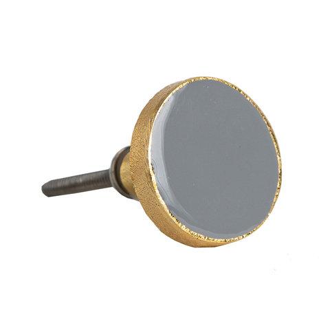 Bombay Duck deurknop  Bertie grijs met gouden rand