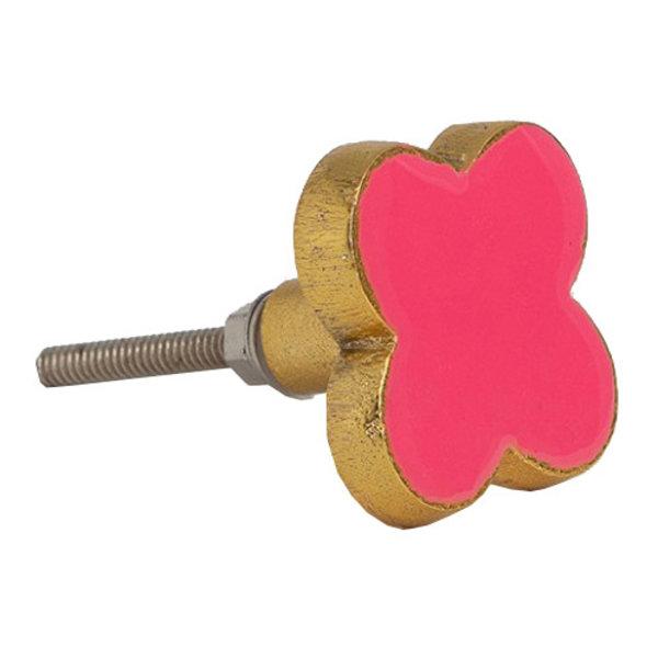 Bombay  Duck Bombay Duck deurknop bloem flamingo roze met gouden rand