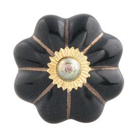 Clayre & Eef Deurknopje bloem zwart met met gouden strepen