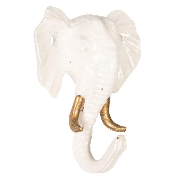 Clayre & Eef Clayre en Eef kapstok haakje olifant wit met gouden details