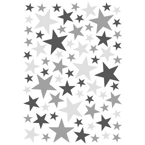 Lilipinso muursticker sterren grijs & zwart