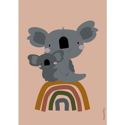 Designed4Kids poster A3 koala beer en regenboog