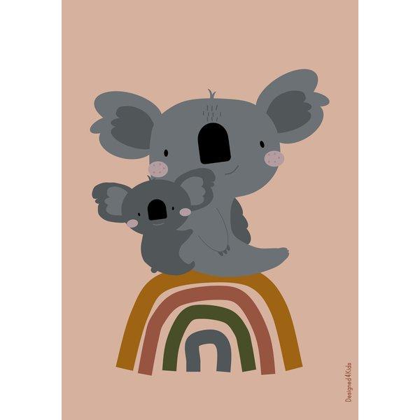 Designed4Kids Designed4Kids kinderposter A3 koala beer en regenboog