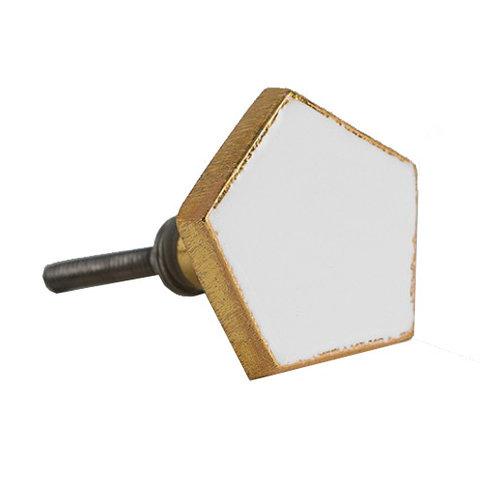 Bombay Duck deurknop  pentagon wit met gouden rand