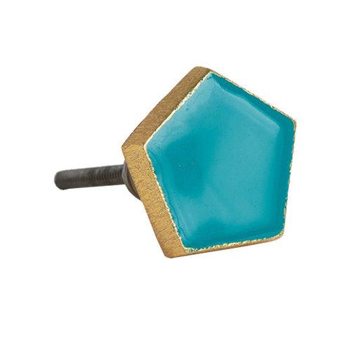 Bombay Duck deurknop  pentagon turquoise met gouden rand