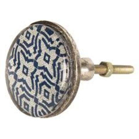 Clayre & Eef deurknop  patroon donkerblauw groot