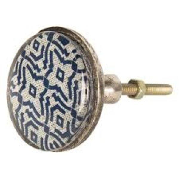 Clayre & Eef Clayre & Eef deurknop patroon donkerblauw groot