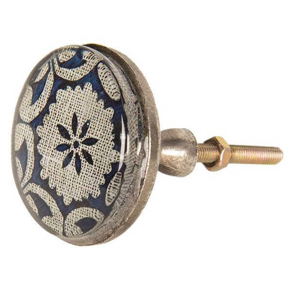 Clayre & Eef Clayre & Eef deurknop patroon bloem donkerblauw groot