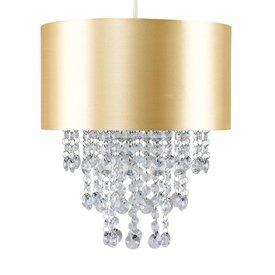 Kinderlamp goud met transparante kralen