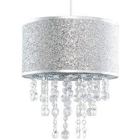 Kinderlamp zilver glitter met transparante kralen