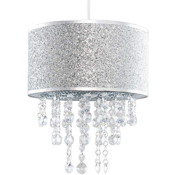 Kinderlamp kinderlamp zilver glitter met transparante kralen