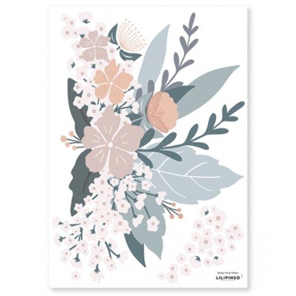 Lilipinso Lilipinso muursticker kinderkamer bloemen Adele  composition fleuries