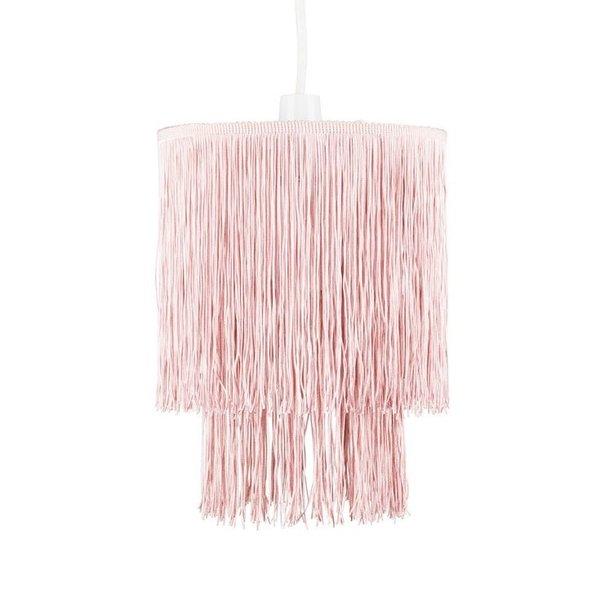 Kinderlamp kroonluchter franje roze