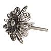 Clayre & Eef deurknopje bloem draad gevlecht zilver