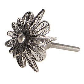 Clayre & Eef Deurknop bloem zilver
