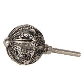 Clayre & Eef Deurknop zilver draadgevlecht rond