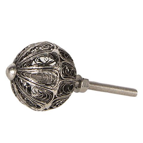 Deurknop zilver draadgevlecht rond