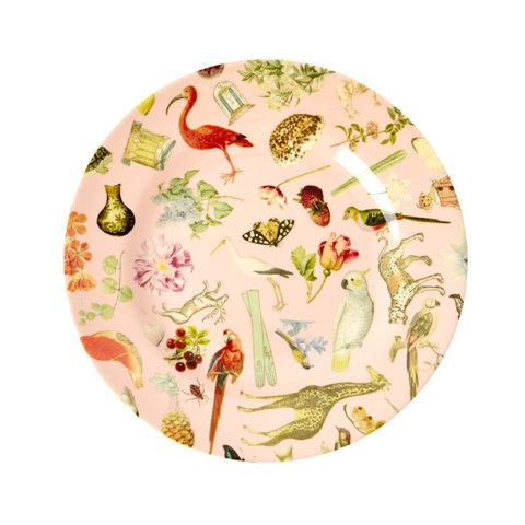 Rice melamine bord rond Art print roze