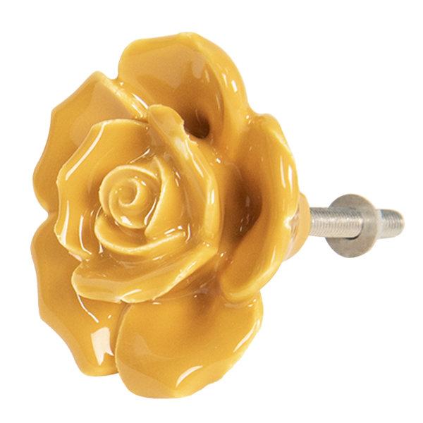 Clayre & Eef Deurknopje bloem roos oker geel