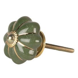 Clayre & Eef Deurknopje bloem groen met gouden strepen