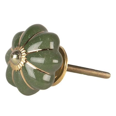 Deurknopje bloem groen met gouden strepen