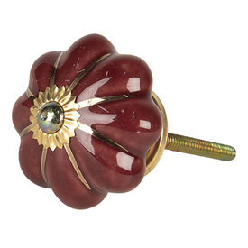 Clayre & Eef Deurknopje bloem bordeaux  rood met gouden strepen