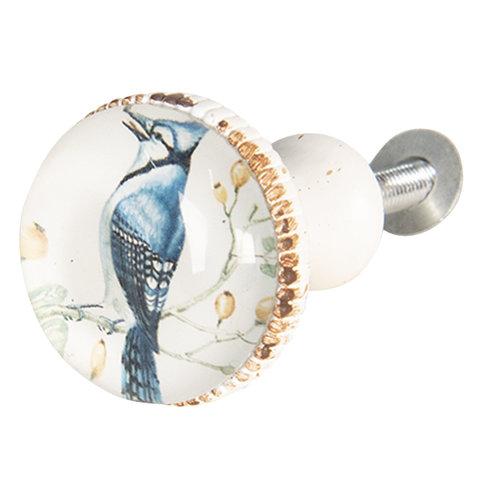 Clayre & Eef deurknopje vogel blauw