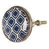 Clayre & Eef deurknop ruiten patroon donkerblauw groot