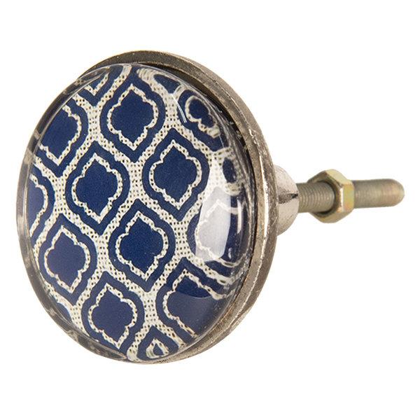 Clayre & Eef Clayre & Eef deurknop ruiten patroon donkerblauw groot