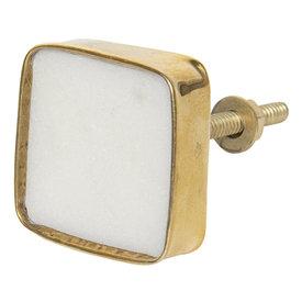 Clayre & Eef Deurknopje vierkant goud/wit