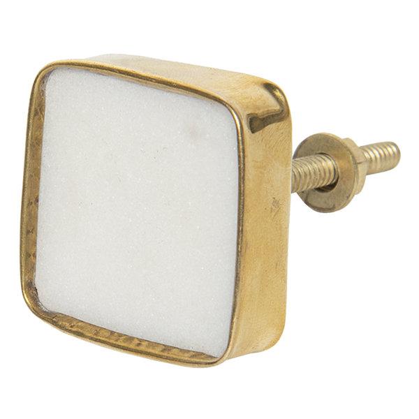 Clayre & Eef Clayre & Eef deurknopje  vierkant goud/wit