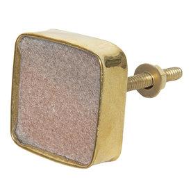 Clayre & Eef Deurknopje vierkant goud/roze