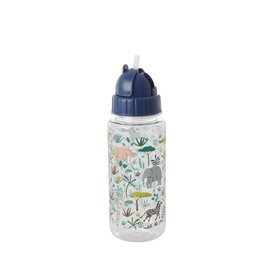 Rice drinkfles jungle print blauw