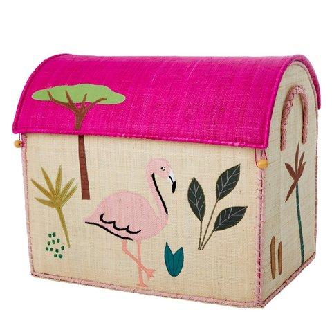 Rice speelgoedmand  jungle flamingo