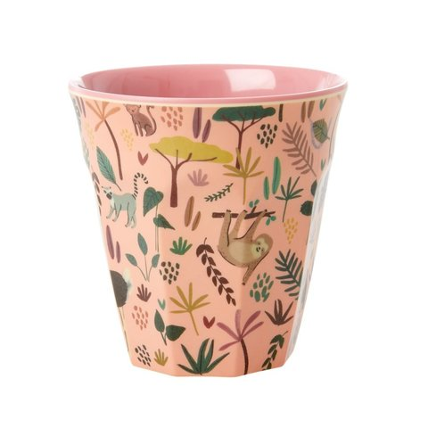 Rice melamine beker jungle print roze