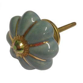 Clayre & Eef Deurknopje bloem grijs blauw met gouden strepen