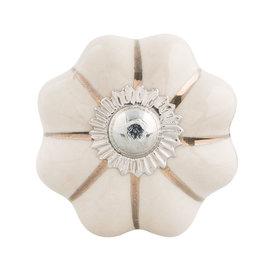 Clayre & Eef Deurknopje bloem wit met met gouden strepen