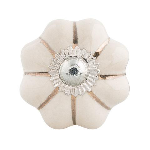Deurknopje bloem wit met met gouden strepen