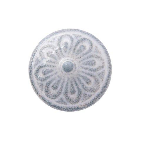 Clayre & Eef deurknopje relief bloem grijs wit