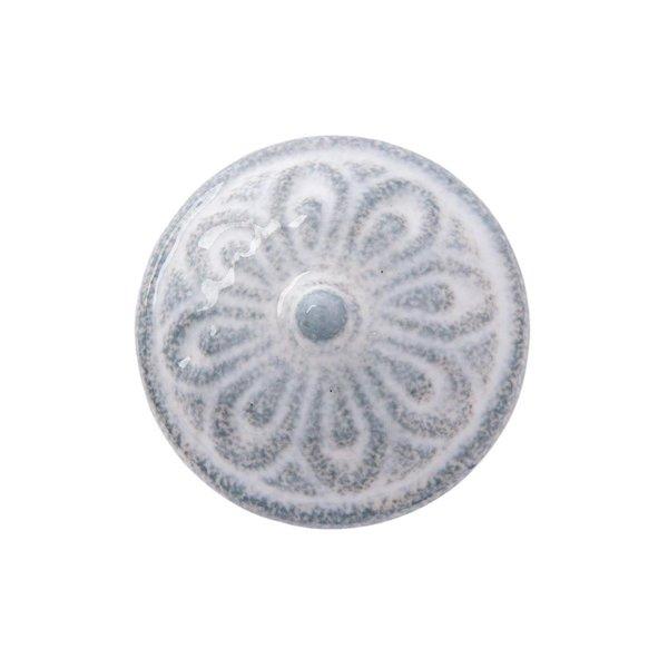 Clayre & Eef Clayre & Eef deurknopje relief bloem grijs wit