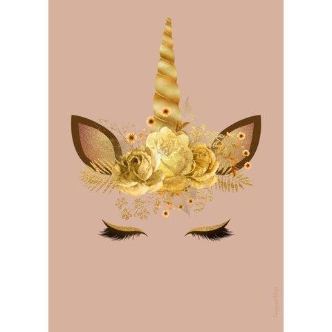 Designed4Kids poster A3 eenhoorn goud