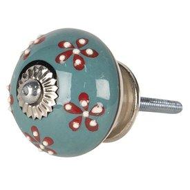 Clayre & Eef Deurknopje porselein rond blauw met bloemen