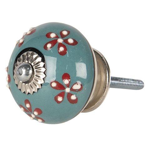 Deurknopje porselein rond blauw met bloemen