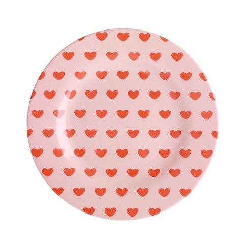 Rice melamine kinderbord bloemen rond hartjes print