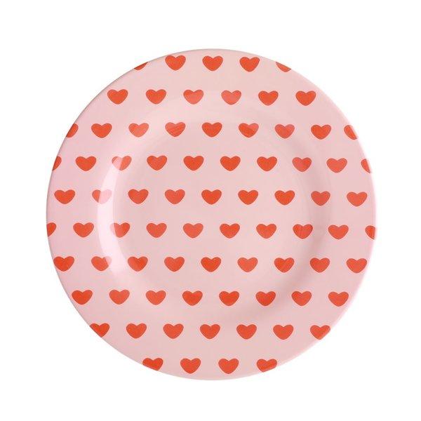 rice Denmark Rice melamine bord rond hartjes Sweet Hearts print