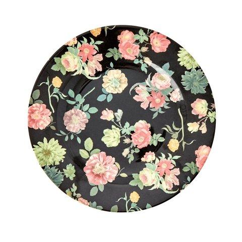 Rice melamine bord bloemen rond Dark Rose print