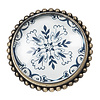 Clayre & Eef deurknop  glas metaal bloemen motief