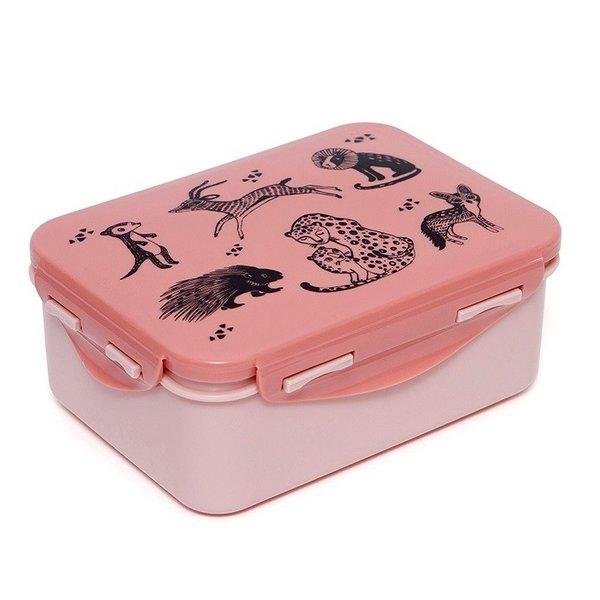 Petit Monkey Petit Monkey lunchtrommel blossom pink met zwarte dieren
