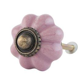 Clayre & Eef Deurknop bloem roze klein